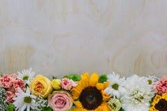 Frische Blumen auf Bauholz Lizenzfreie Stockbilder