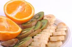 Frische bunte Früchte auf der Platte, Makro Stockfotos