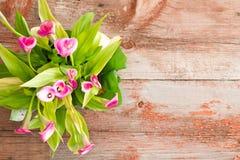 Frische Calla-Lilien auf Tabelle mit Kopien-Raum Stockbild