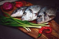 Frische Dorado-Fische auf einem hölzernen Brett mit Gemüse Stockfotografie