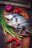 Frische Dorado-Fische auf einem hölzernen Brett mit Gemüse Lizenzfreie Stockfotografie