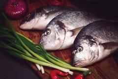Frische Dorado-Fische auf einem hölzernen Brett mit Gemüse Stockbild