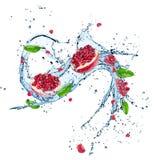 Frische Drachefrucht mit Wasserspritzen lizenzfreie stockfotografie