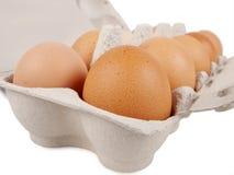 10 frische Eier Stockfoto
