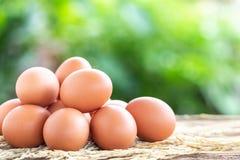 Frische Eier auf Holztisch für Lebensmittelkonzept lizenzfreie stockfotografie