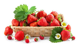 Frische Erdbeere des Korbes mit grünem Blatt und Blume Stockfotos
