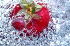 Frische Erdbeere im Wasser Lizenzfreies Stockfoto