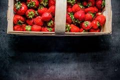 Frische Erdbeeren Erdbeeren auf schwarzem Hintergrund Platz zum Text lizenzfreie stockbilder