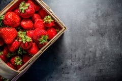Frische Erdbeeren Erdbeeren auf schwarzem Hintergrund Platz zum Text stockbild
