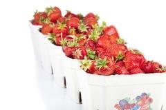 Frische Erdbeeren in der Pappschachtel Stockbild