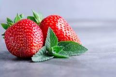 Frische Erdbeeren und Minze Lizenzfreie Stockbilder