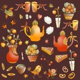 Frische Erdbeeren und Tee auf Porzellanporzellantellern Sammlung nette Hand gezeichnete bunte Elemente für Teeparty Lizenzfreies Stockfoto