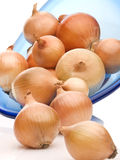 Frische Fühler der gelben Zwiebel auf weißem Hintergrund Lizenzfreies Stockfoto