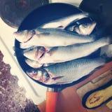 Frische Fische in A, das Pan On The Table brät Lizenzfreie Stockfotos