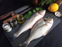 Frische Fische mit Zitrone und Gew?rzen lizenzfreies stockbild
