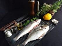 Frische Fische mit Zitrone und Gew?rzen lizenzfreie stockfotografie