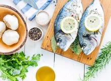 Frische Fische Seebrassen Dorada auf einer weißen Tabelle Stockfoto