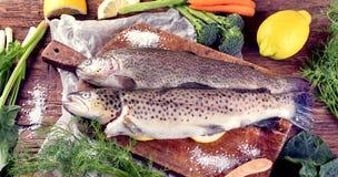 Frische Fische und Bestandteile für das Kochen Stockfotos