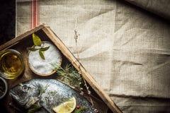 Frische Fische und Reibungsgewürz auf einem Behälter Stockfoto