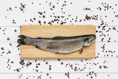 Frische Forellenfische auf dem Schnitt des hölzernen Brettes mit Pfefferkörnern Lizenzfreie Stockfotografie