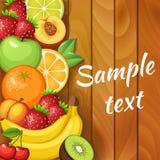 Frische Früchte auf hölzerner Beschaffenheit Lebensmittel des strengen Vegetariers Orange, Apfel, Kiwi, Erdbeere, Pfirsich Stockfotos