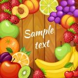 Frische Früchte auf hölzerner Beschaffenheit Orange, Apfel, Kiwi, Erdbeere, Pfirsich, Banane, Kalk, Kirsche, Traube, Pflaume Stockfoto