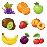 Frische Früchte Flaches volle Farbdesign Lebensmittel des strengen Vegetariers Traube, Orange, Apfel, Kiwi, Erdbeere, Pfirsich, B Lizenzfreie Stockbilder