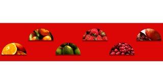 Frische Früchte innerhalb der Halbrunde vereinbart im Zickzack Stockfoto