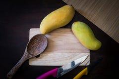 Frische Früchte und Messer auf hackendem Brett lizenzfreie stockbilder