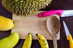 Frische Früchte und Messer auf hackendem Brett lizenzfreies stockbild