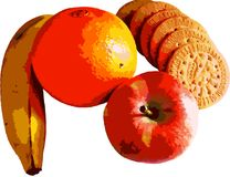 Frische Früchte und Plätzchen vectorized und mit transparentem Hintergrund lizenzfreie stockfotos