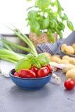 Frische Frühlingszwiebeln, junge Kartoffeln, Kirschtomaten und grüner Basilikum gesundes Lebensmittel und Vitamine Sommersaisonge lizenzfreie stockbilder