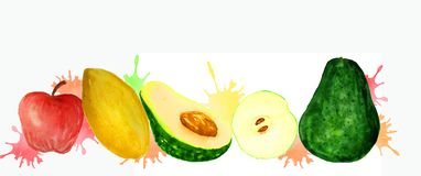 Frische Frucht auf einem weißen Hintergrund stock abbildung