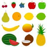 14 frische Frucht-Ikonen Lizenzfreies Stockbild