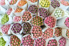 Frische Gartennelkenblumensträuße in Hong Kong stockfoto