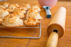 Frische gebackene Kokosmakronen mit den Jahreszeiten, die Tag grüßen lizenzfreies stockbild