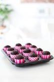 Frische gebackene Schokoladen-kleine Kuchen in den rosa Verpackungen Lizenzfreie Stockbilder