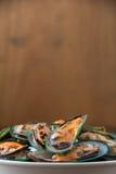 Frische gedämpfte Miesmuscheln in der weißen Schüssel Lizenzfreie Stockfotografie