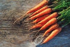 Frische geerntete Karotte auf Holztisch im Garten Gemüse-Vitamin-Keratin Natürliche organische Karotte liegt auf hölzernem Hinter Stockfotografie