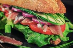 Frische gegrillte Roggensandwiche mit Sardelle, Salatblättern, Gurke, Zwiebel, Tomaten und Schnittlauchen das Tonen vorgewählt stockfoto