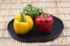 Frische gelbe rote grüne Bell Peppe Lizenzfreie Stockfotos