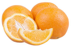 Frische geschnittene Orangen lokalisiert Stockfotografie