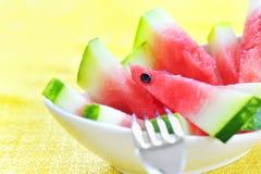 Frische geschnittene Wassermelone Stockfotografie