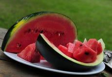 Frische geschnittene Wassermelone im Garten Stockfotografie