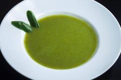 Frische gesunde grüne Suppe Gemüsesuppe mit Basilikum stockfotos