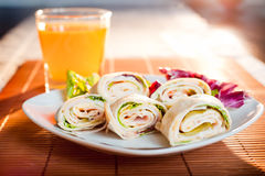 Frische gesunde vegetarische Tortillas Stockbild