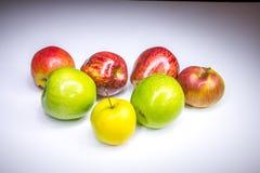 Frische glückliche sieben mehrfarbige Äpfel stockbilder