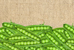 Frische grüne Erbsen auf Leinwandstoff Lizenzfreie Stockfotografie