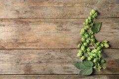 Frische grüne Hopfen auf hölzernem Hintergrund lizenzfreie stockbilder