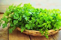 Frische grüne Petersilie auf hölzernem Hintergrund Lizenzfreies Stockfoto